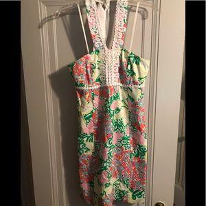 Butterfly print halter dress